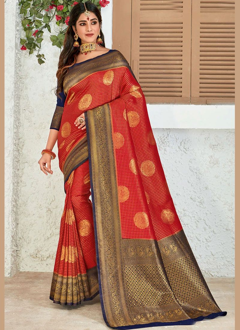 Red Weaving Classic Designer Saree