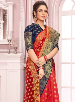 Red Weaving Crepe Silk Traditional Saree