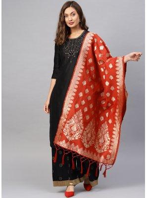 Red Weaving Designer Dupatta