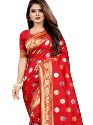 Red Weaving Designer Traditional Saree
