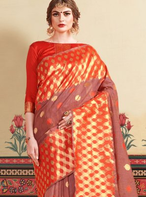 Red Weaving Festival Casual Saree