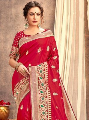 Red Weaving Festival Trendy Saree