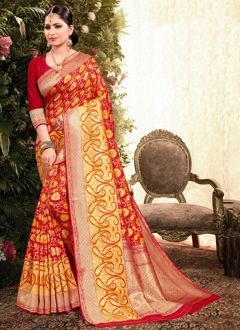 Red Weaving Jacquard Classic Designer Saree