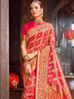 Red Weaving Party Designer Saree