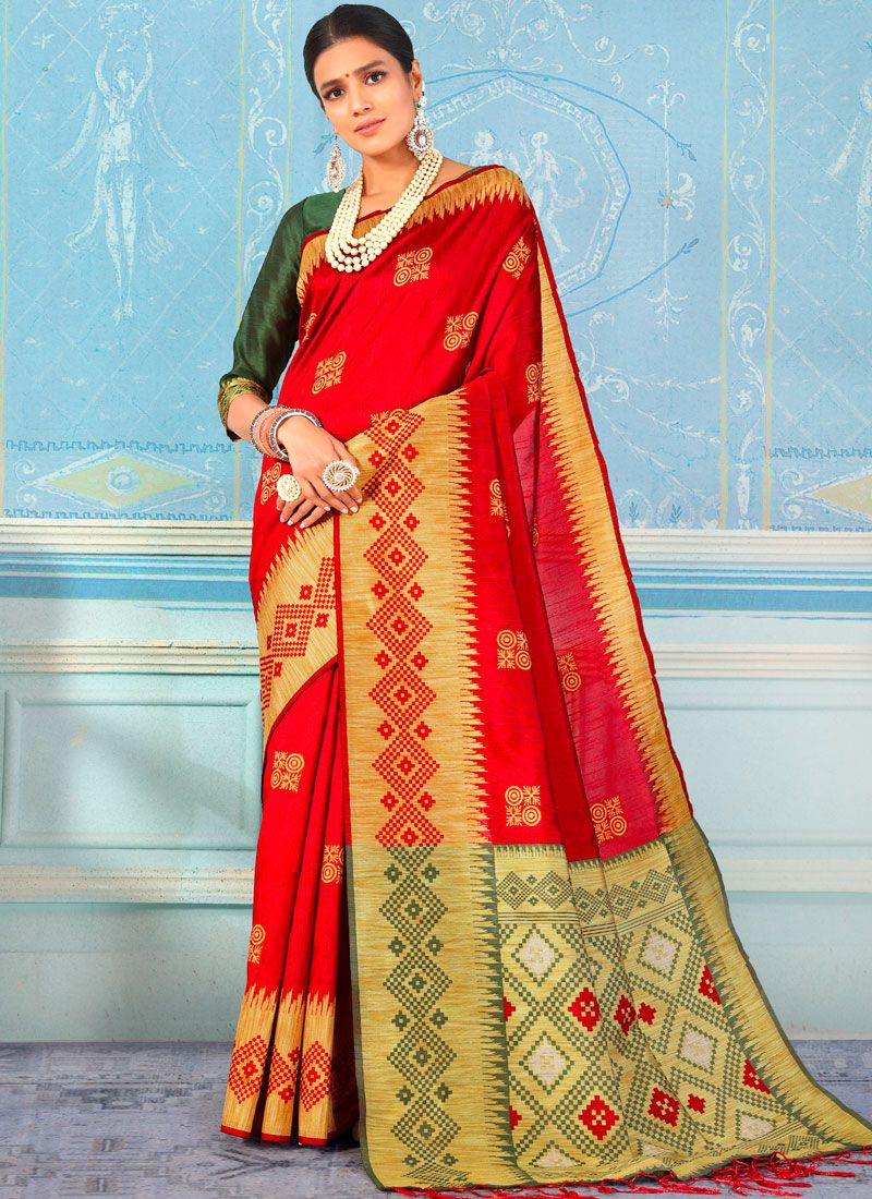 Red Weaving Party Designer Traditional Saree