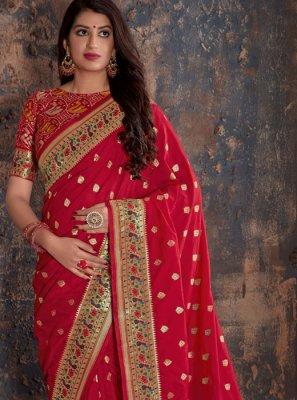 Red Weaving Reception Silk Saree