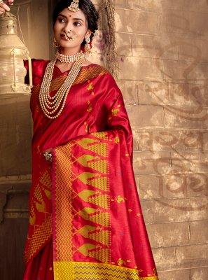 Red Weaving Silk Bollywood Saree