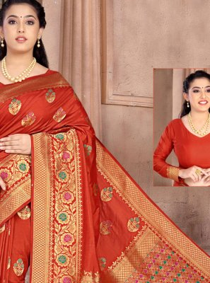 Red Weaving Silk Classic Designer Saree