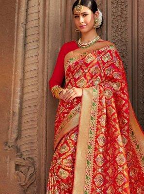 Red Weaving Silk Classic Saree