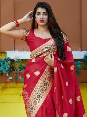 Red Weaving Silk Contemporary Saree