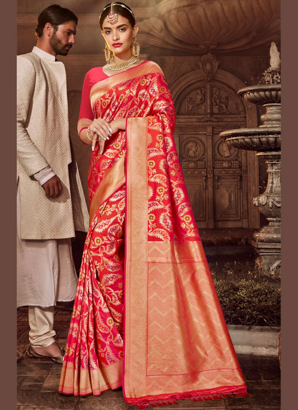 Red Weaving Silk Traditional Saree