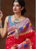 Red Weaving Silk Trendy Saree