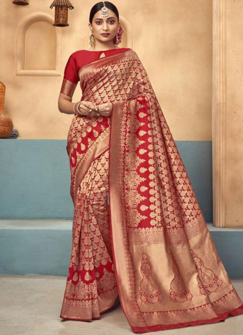 Red Wedding Traditional Saree