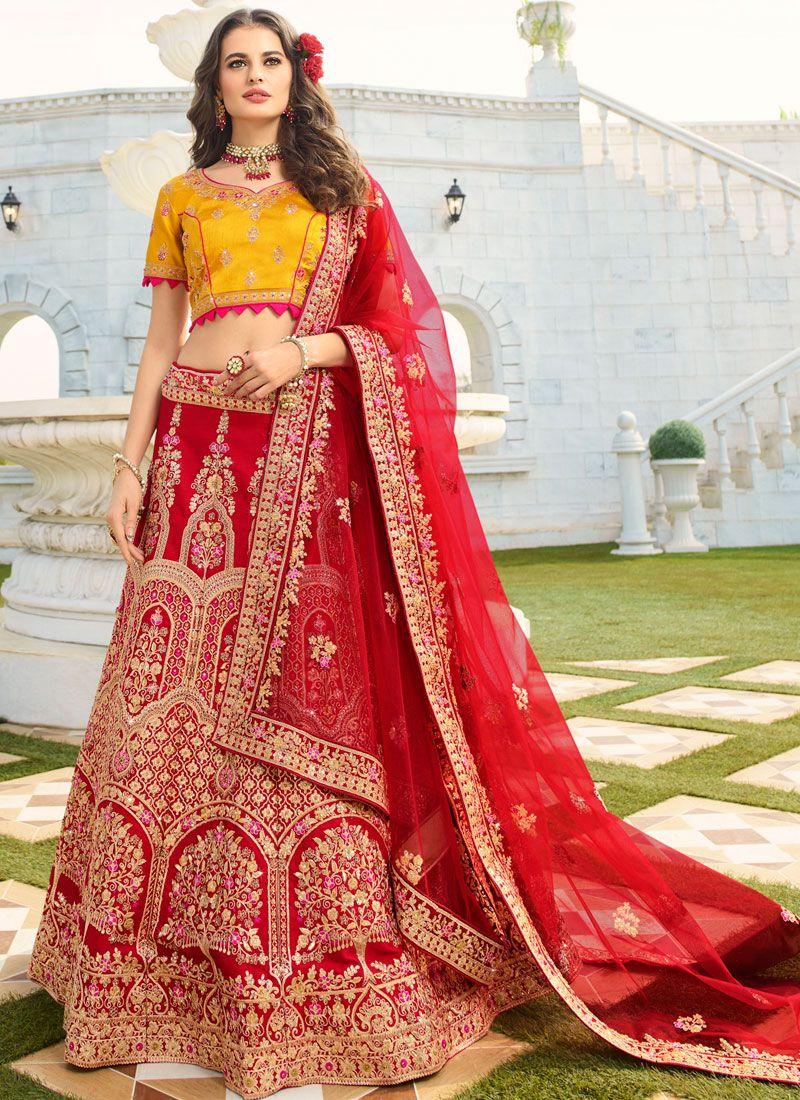 Red Wedding Trendy A Line Lehenga Choli