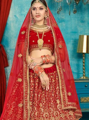 Red Wedding Trendy Long Choli Lehenga