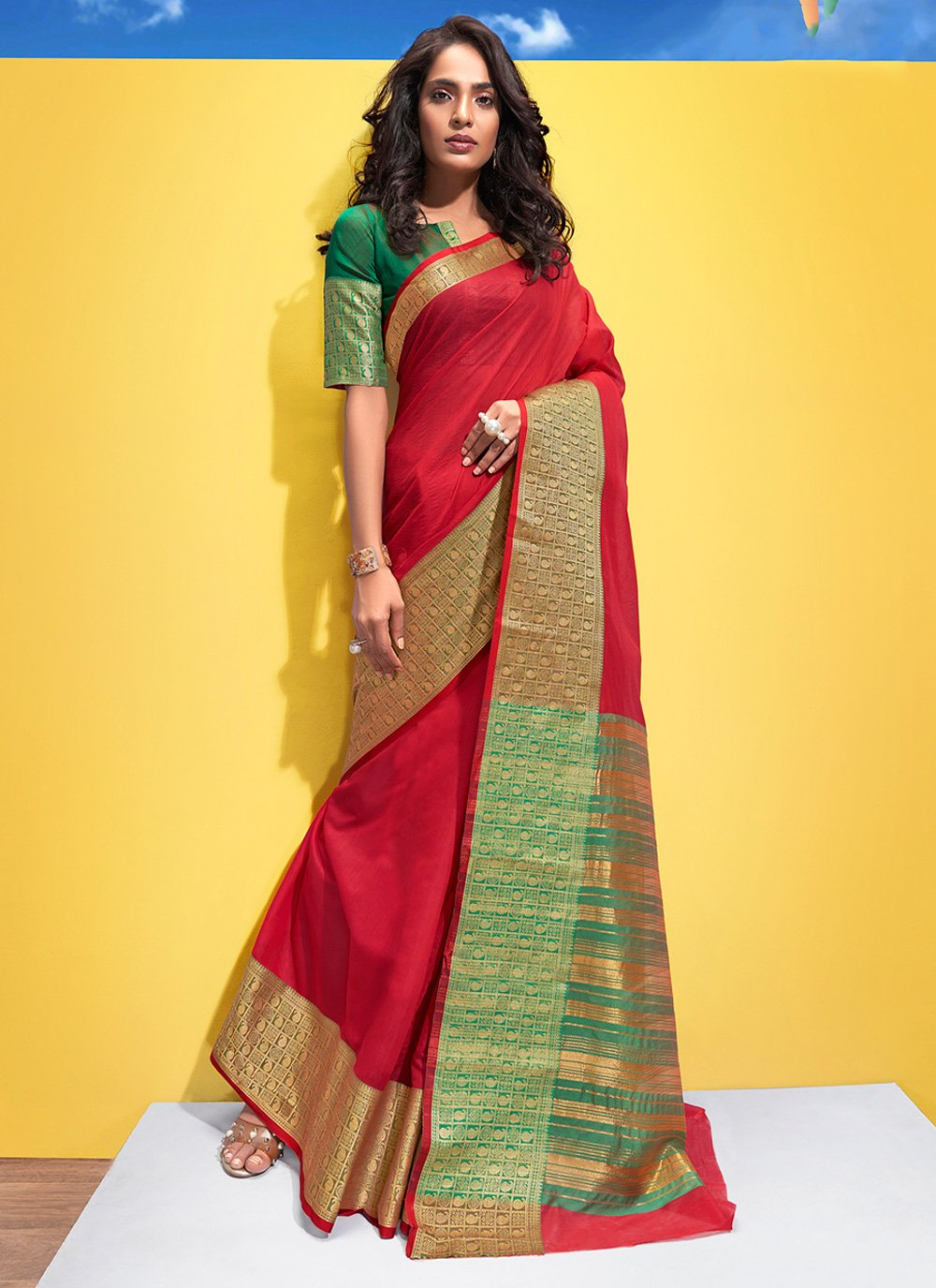 Red Woven Casual Saree