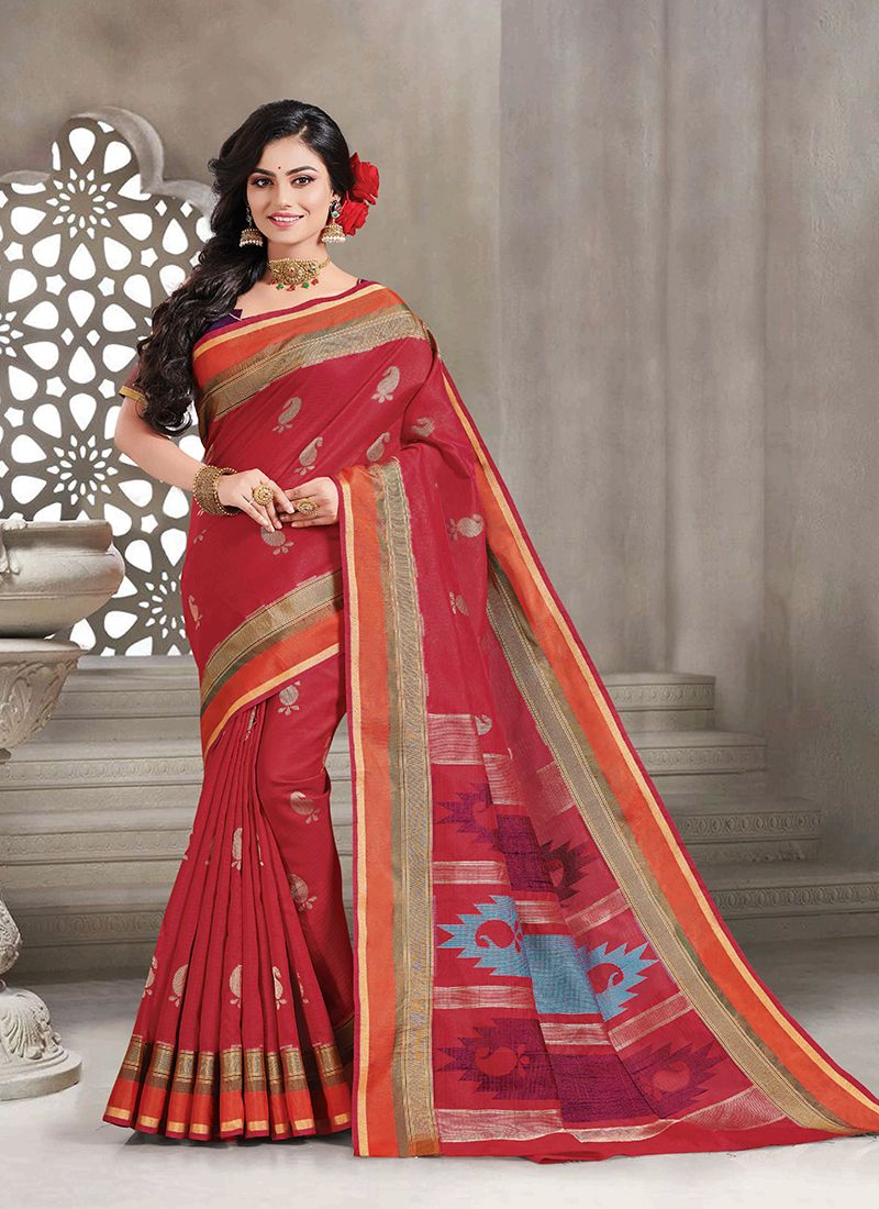 Red Woven Handloom silk Classic Saree