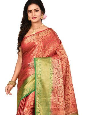 Red Zari Art Silk Designer Saree