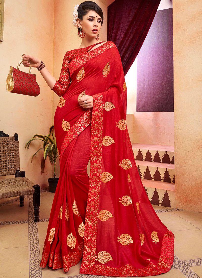 Red Zari Classic Designer Saree