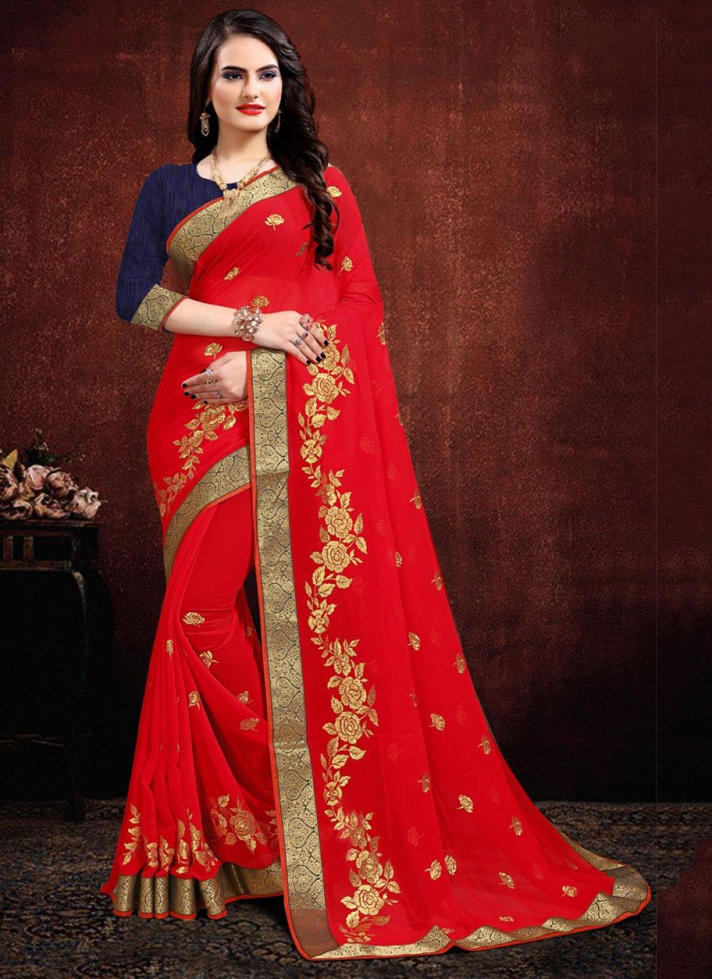 Red Zari Georgette Contemporary Saree