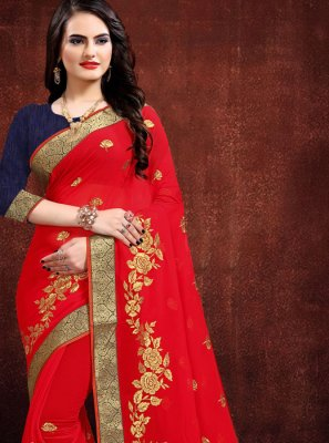 Red Zari Georgette Contemporary Saree