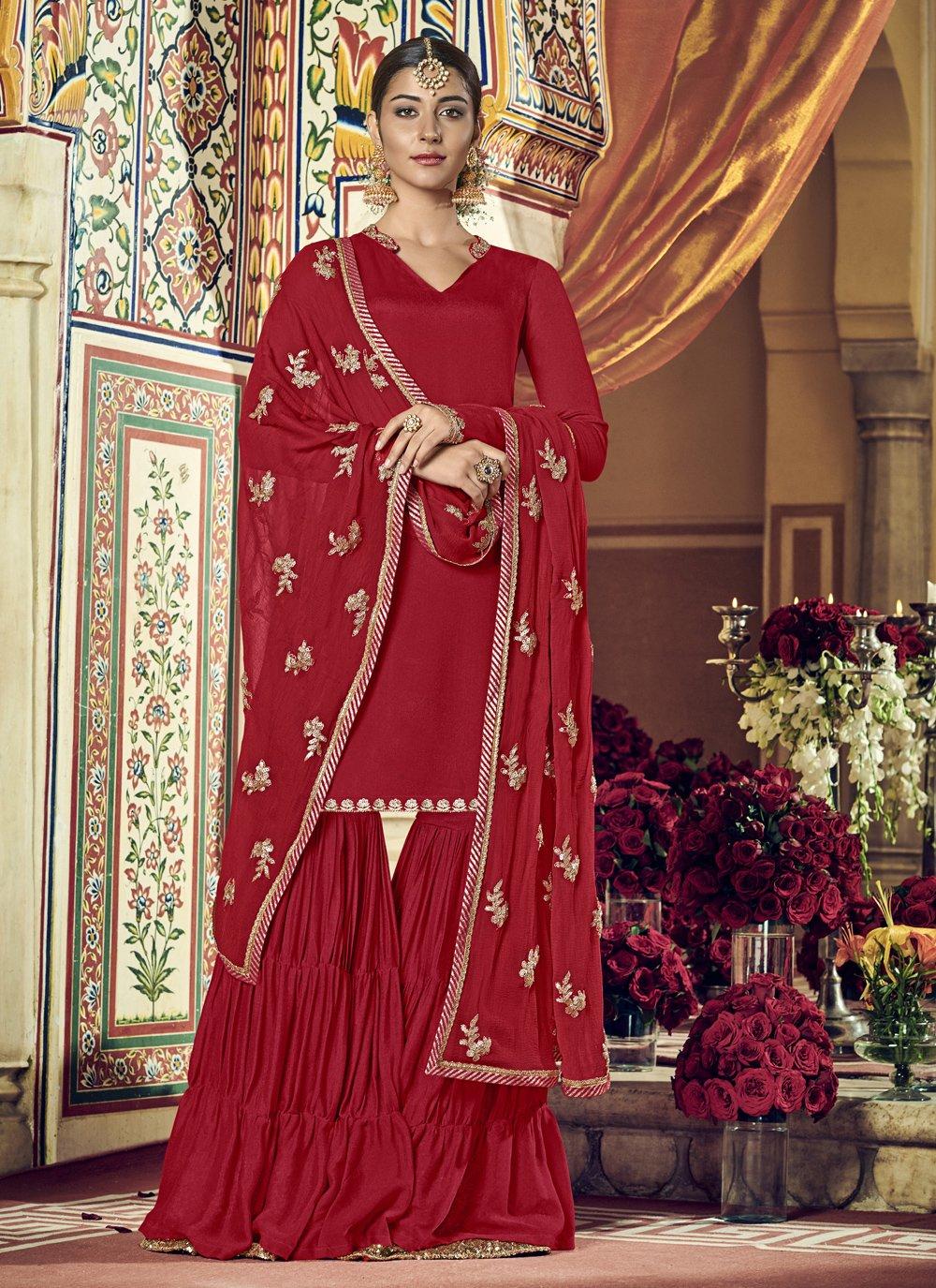 Red Zari Georgette Palazzo Suit