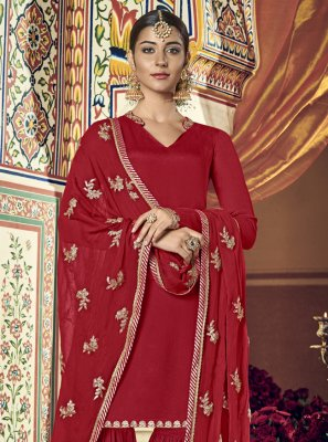 Red Zari Georgette Palazzo Suit