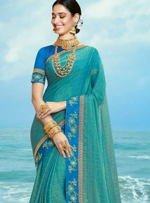 Resham Aqua Blue Silk Trendy Saree