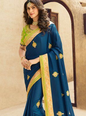 Resham Art Silk Blue Designer Traditional Saree