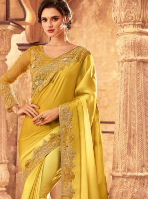 Resham Art Silk Yellow Traditional Saree