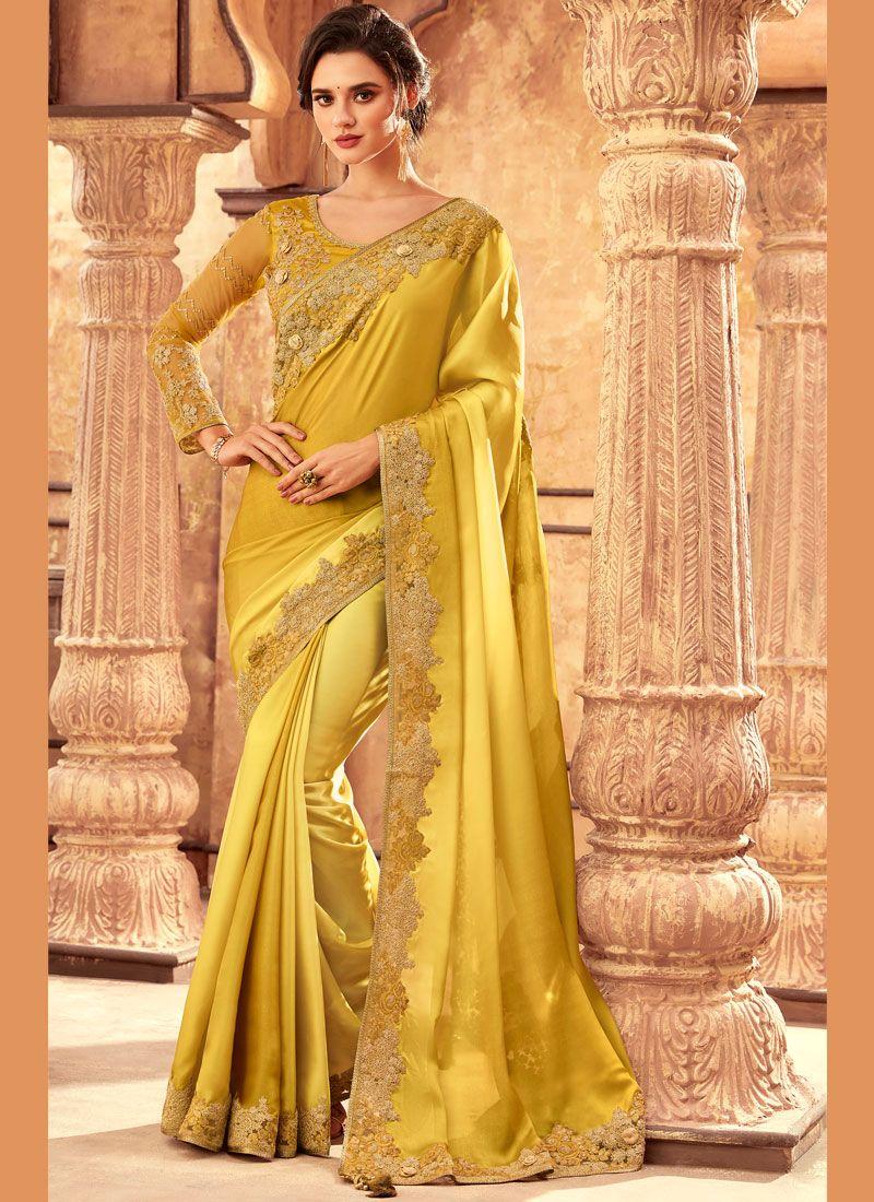 Resham Art Silk Yellow Traditional Saree
