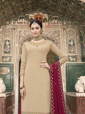 Resham Beige Faux Georgette Designer Pakistani Suit