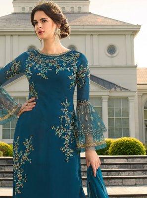Resham Blue Trendy Palazzo Suit