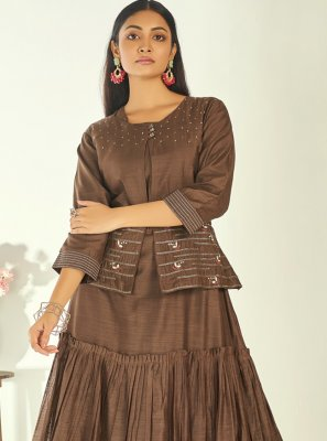 Resham Brown Party Wear Kurti