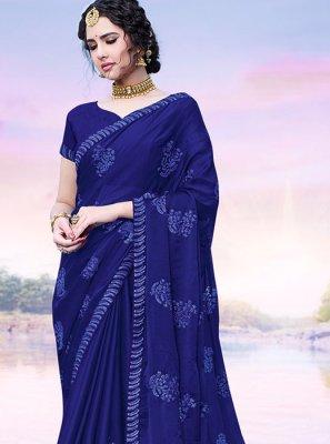 Resham Chinon Blue Classic Designer Saree