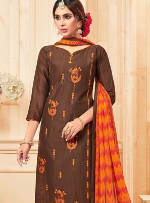 Resham Cotton Brown Trendy Salwar Kameez