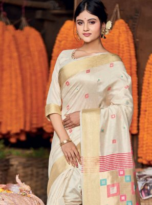 Resham Cotton Off White Designer Saree