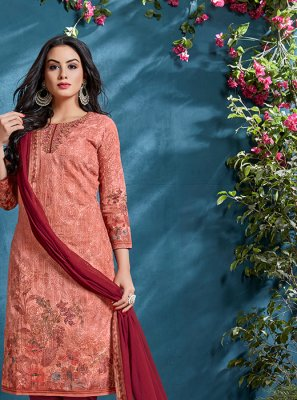 Resham Cotton Peach Churidar Designer Suit