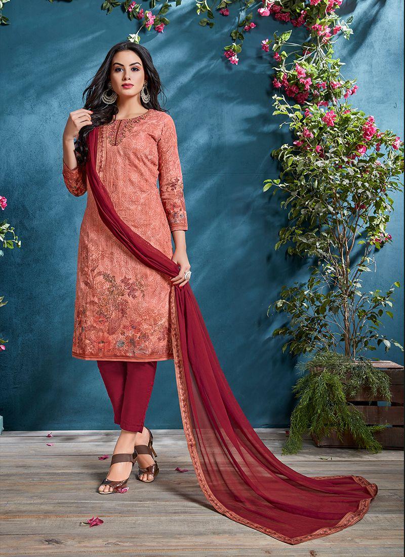 Resham Cotton Peach Churidar Designer Suit