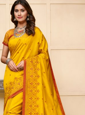 Resham Cotton Silk Designer Traditional Saree in Yellow