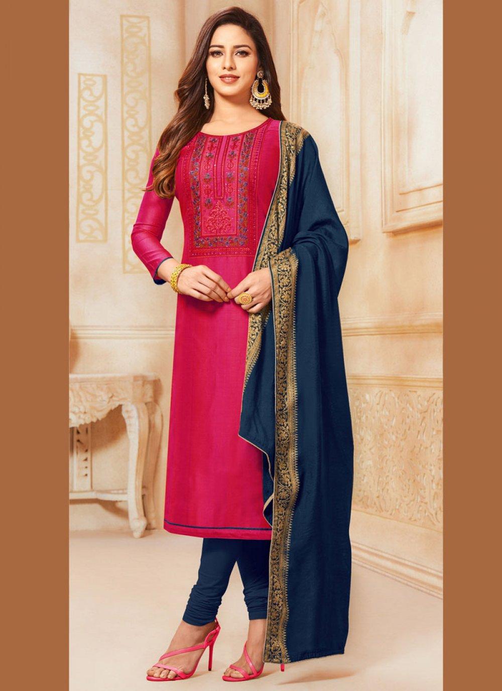 Resham Cotton Trendy Churidar Suit in Hot Pink