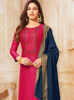 Resham Cotton Trendy Churidar Suit in Hot Pink