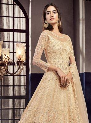Resham Cream Net Designer Lehenga Choli