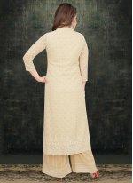 Resham Cream Palazzo Salwar Suit