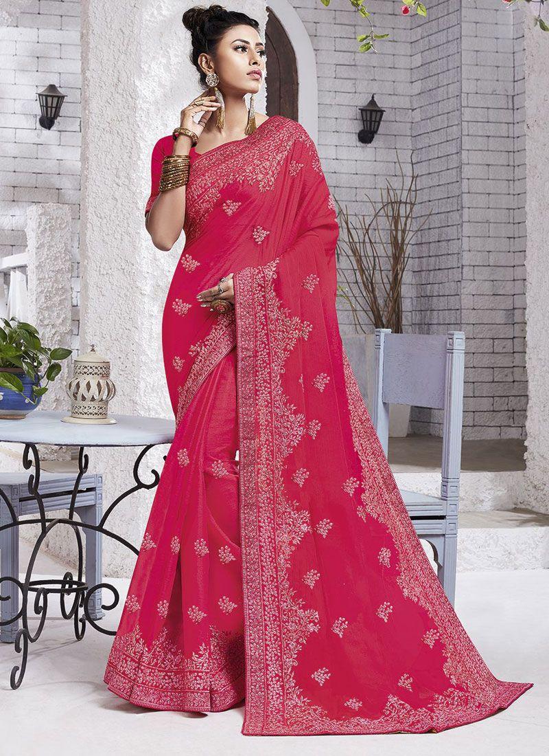 Resham Faux Chiffon Classic Designer Saree