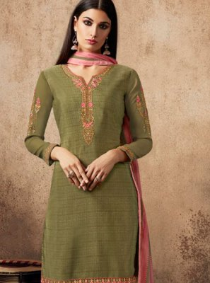 Resham Faux Crepe Designer Patiala Salwar Kameez in Green
