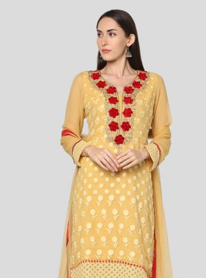 Resham Georgette Churidar Salwar Suit in Yellow