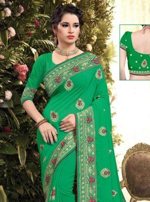 Resham Georgette Classic Saree in Green