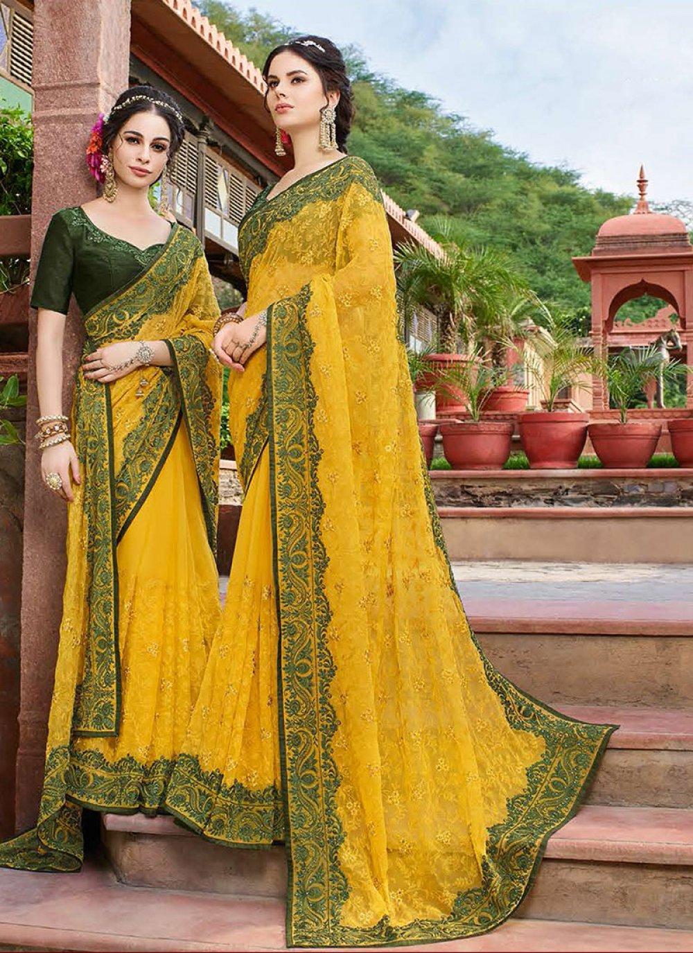 Resham Georgette Classic Saree in Yellow