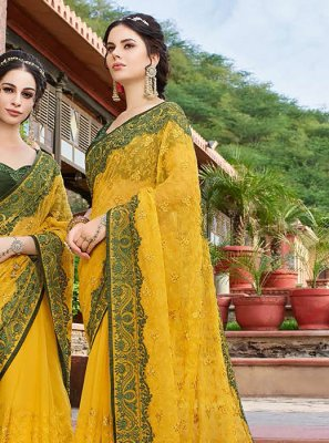 Resham Georgette Classic Saree in Yellow